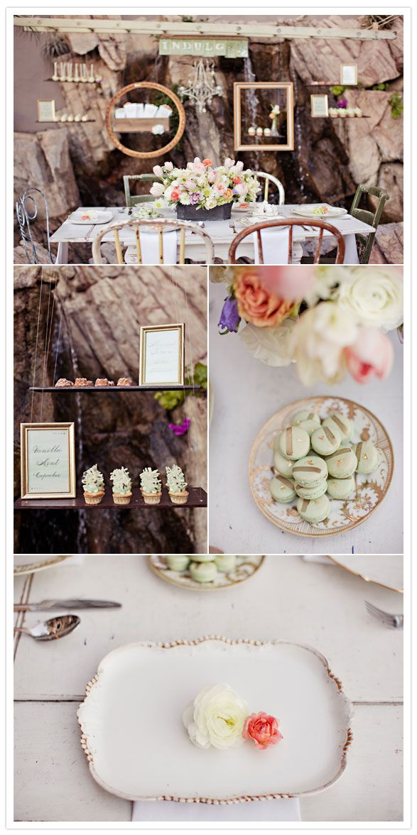 I love the table setting with chippy vintage furniture and the frames showing off sweets. want to use the hanging ladder idea and indulge