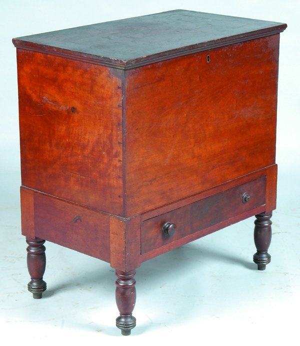 Kentucky Cherry Sugar Chest Full Length Dovetailed Drawer Dark Stained And Shellac Overcoat