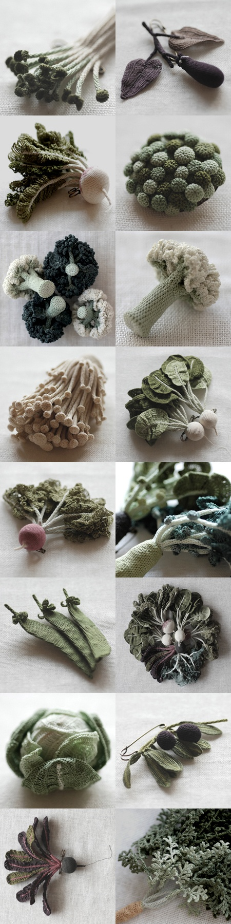 Jung Jung   Beautiful knit and crochet veggies, although not in English. No pattern as far as I know.