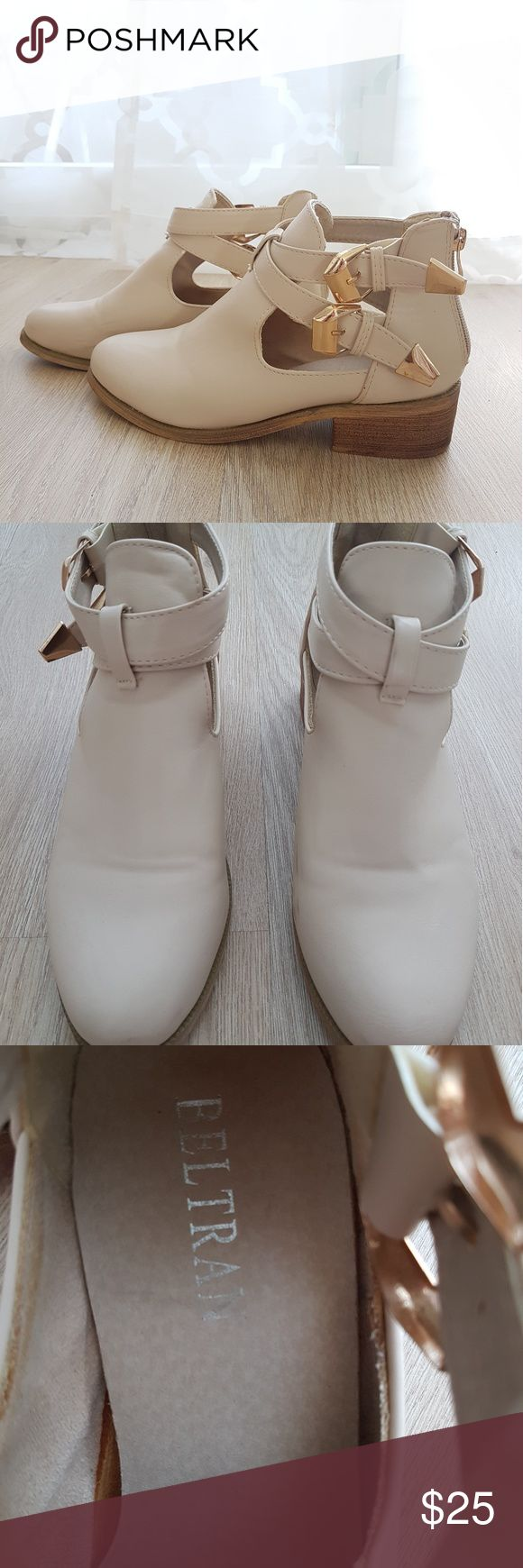 Buckle Ankle Boots / Made in Italy Cream ankle boots with gold buckles, size 6EU/36EU. Made in Italy, so super comfortable and soft. I'll be moving soon, so help me sell some stuff!   *All my items are brought straight from Italy, except for those from chains like Zara&Bershka* Shoes Ankle Boots & Booties