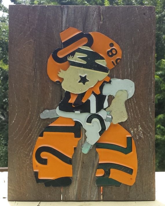 License Plate Art - Small Pistol Pete on Reclaimed Wood - Oklahoma State University Cowboys - College Art on Etsy, $50.00
