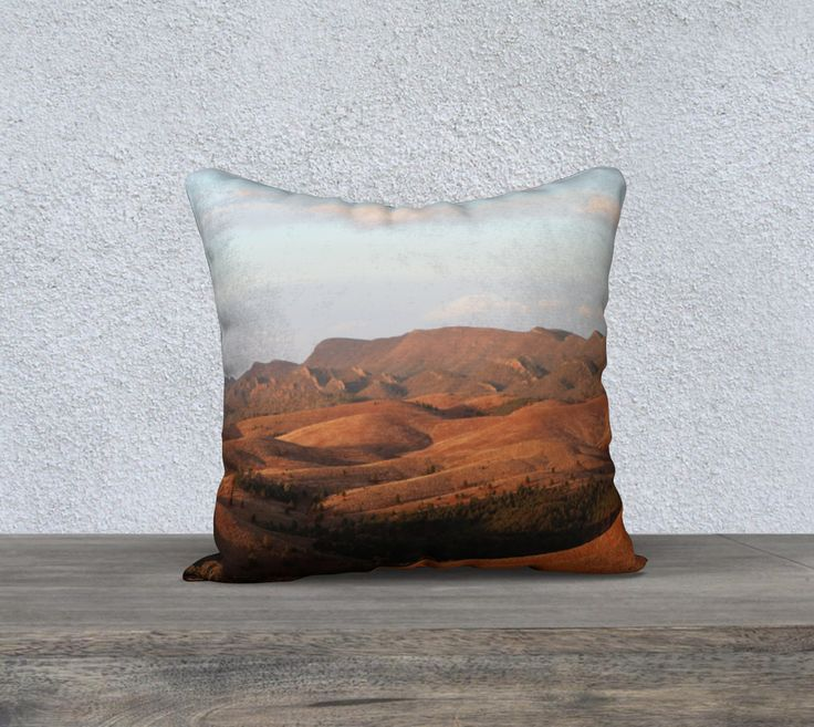 "18""+x+18""+Pillow+Case+""Flinders+Ranges+1""+by+Honey+Myrtle+Studio"