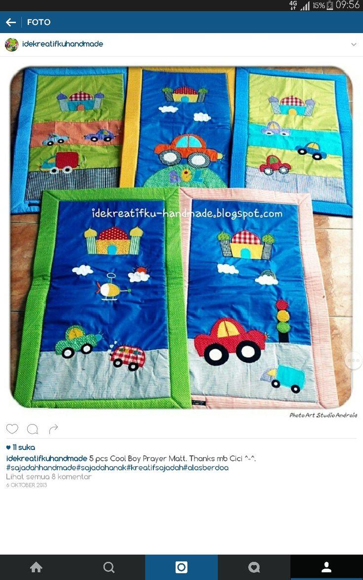 Sajadah Anak  Size   : 95x55cm Insert : padded foam Applique : cotton full  Order please Whatsapp : 081511511112 Line : idekreatifkuhandmade Email : widianamunir@yahoo.co.id