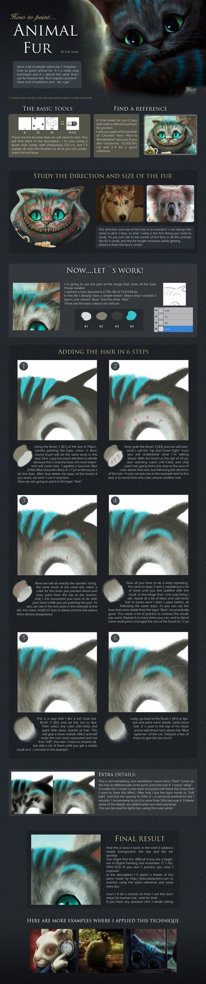 [TUT] How to paint animal fur by =LuzTapia on deviantART
