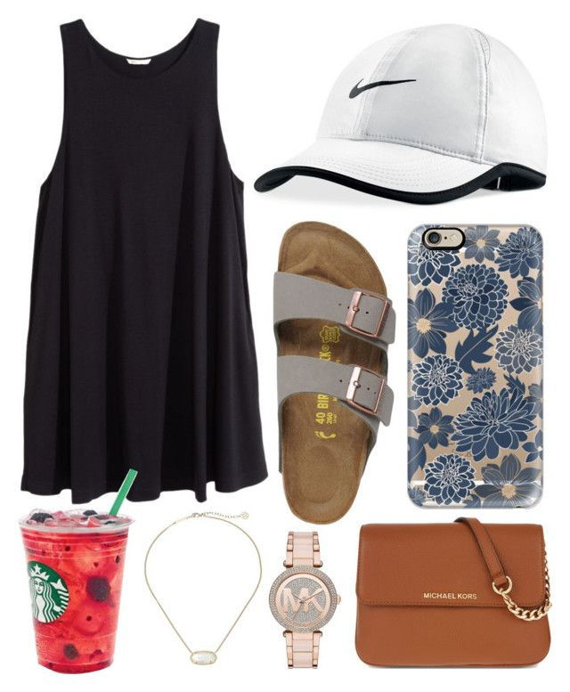 """""""7am """" by jadenriley21 on Polyvore featuring Casetify, H&M, NIKE, Birkenstock, MICHAEL Michael Kors, Kendra Scott and Michael Kors"""