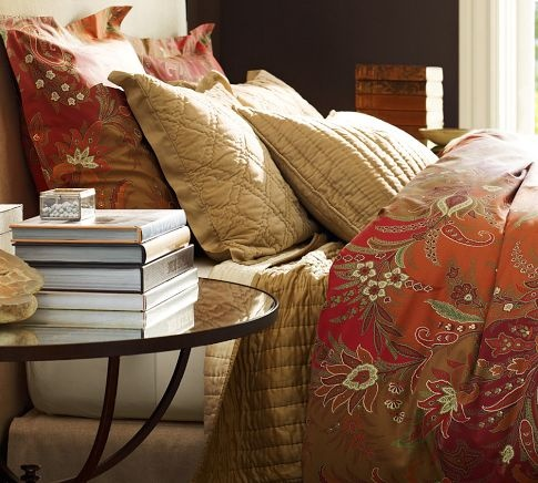 Madeline Paisley Rustic Luxe™ Bedding - Red | Pottery Barn