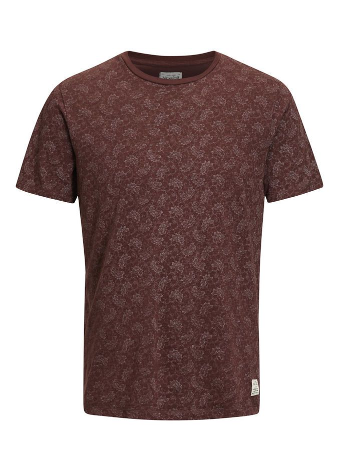 Slim fit floral print t-shirt, made from pure cotton for a soft feel and breathability. In dark red, available in navy blue, dark green | JACK & JONES #vintage #style #tee
