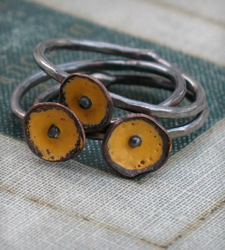 Tiny Bud Trio of Stacked Rings - Yellow by Metamorphosis Metals on Scoutmob Shoppe