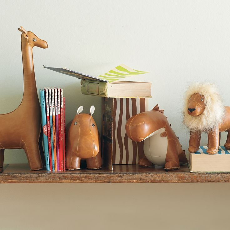 nursery | menagerie bookends: Ideas, Menagerie Bookends, Lilies, Leather Bookends, Animal Bookends, Nursery, Baby, Kids Rooms