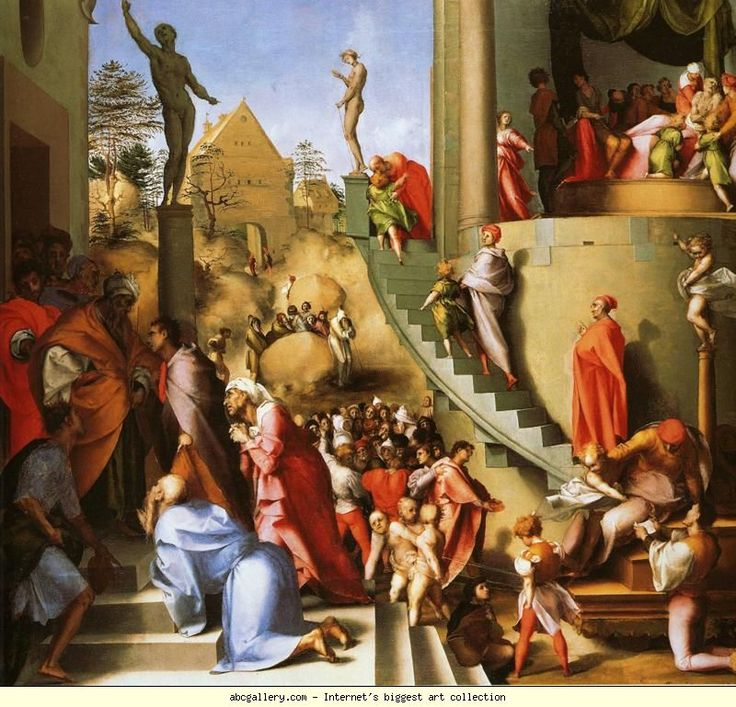 Pontormo. Joseph in Egypt. 1517-1518. Oil on wood. 93 x 110 cm. National Gallery, London, UK.
