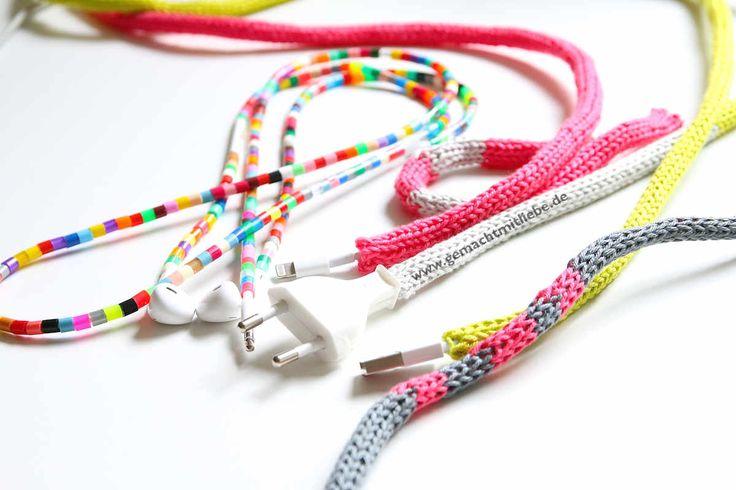 Kabel verschönern mit Bügelperlen und der Strickliesel