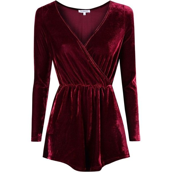 Alice & You Crossover Velvet Playsuit ($48) ❤ liked on Polyvore featuring jumpsuits, rompers, burgundy, women, velvet romper, playsuit romper, surplice romper, velvet rompers and purple romper