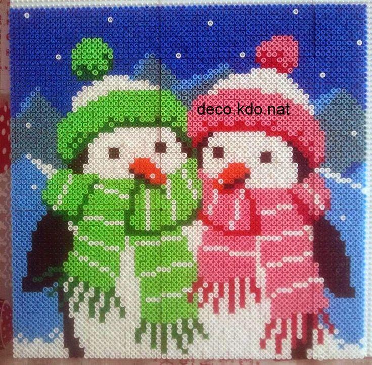 Winter penguins hama perler beads by deco.kdo.nat