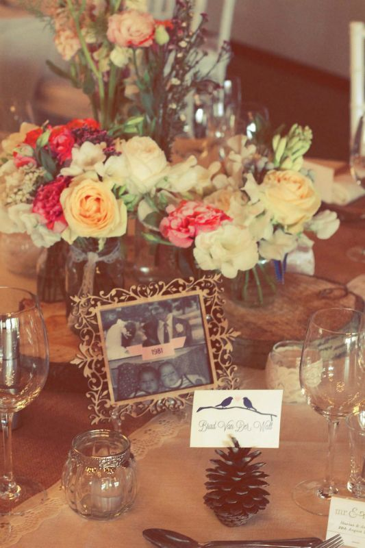 Gorgeous centrepieces and love the thought of using important dates / years as table names