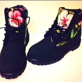 tropical timberlands print floral shoes dope shoes timberland boots shoes black shoes