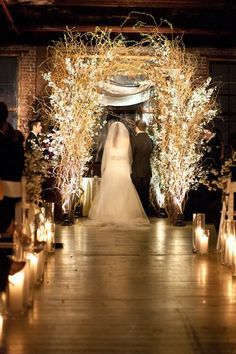 Gorgeous Chuppah with Up lighting on blossom branches and curly willow