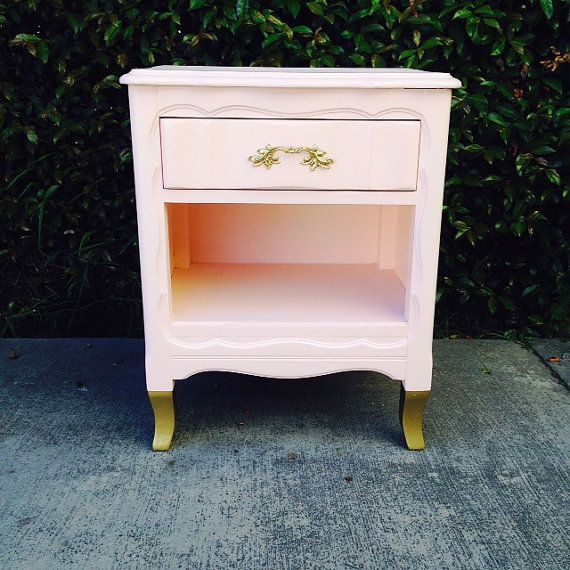 Blush Pink Gold Dipped Nightstand by theHouseofWillow on Etsy