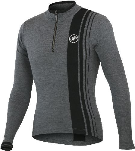 Castelli Costante Wool Jersey - Anthracite Castelli Costante Cycling Jersey - Grey Long Sleeve Wool Anthracite - Classic Cycling