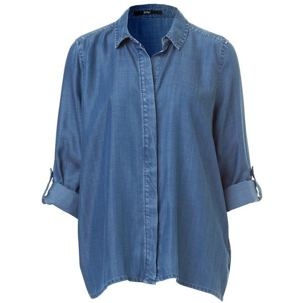 BUTTON BACK DENIM SHIRT ($66) ❤ liked on Polyvore featuring tops, shirts, blusas, long sleeve tops, denim top, blue top, blue shirt and extra long sleeve shirts