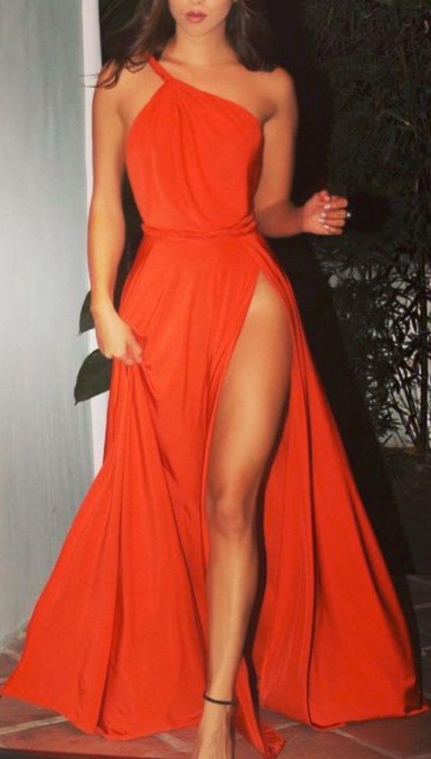 One-shoulder orange evening dress with slit