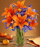 Blue and Orange Flower Bouquet, I want these colors for my wedding :D