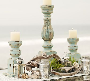 Cape Cod style candleholders for an beachside gathering. #potterybarn