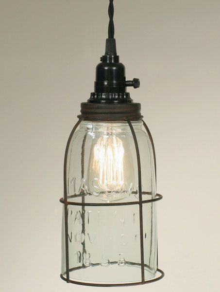 Rustic Half Gallon Caged Mason Jar Open Bottom Industrial Pendant Primitive #ColonialTinWorks