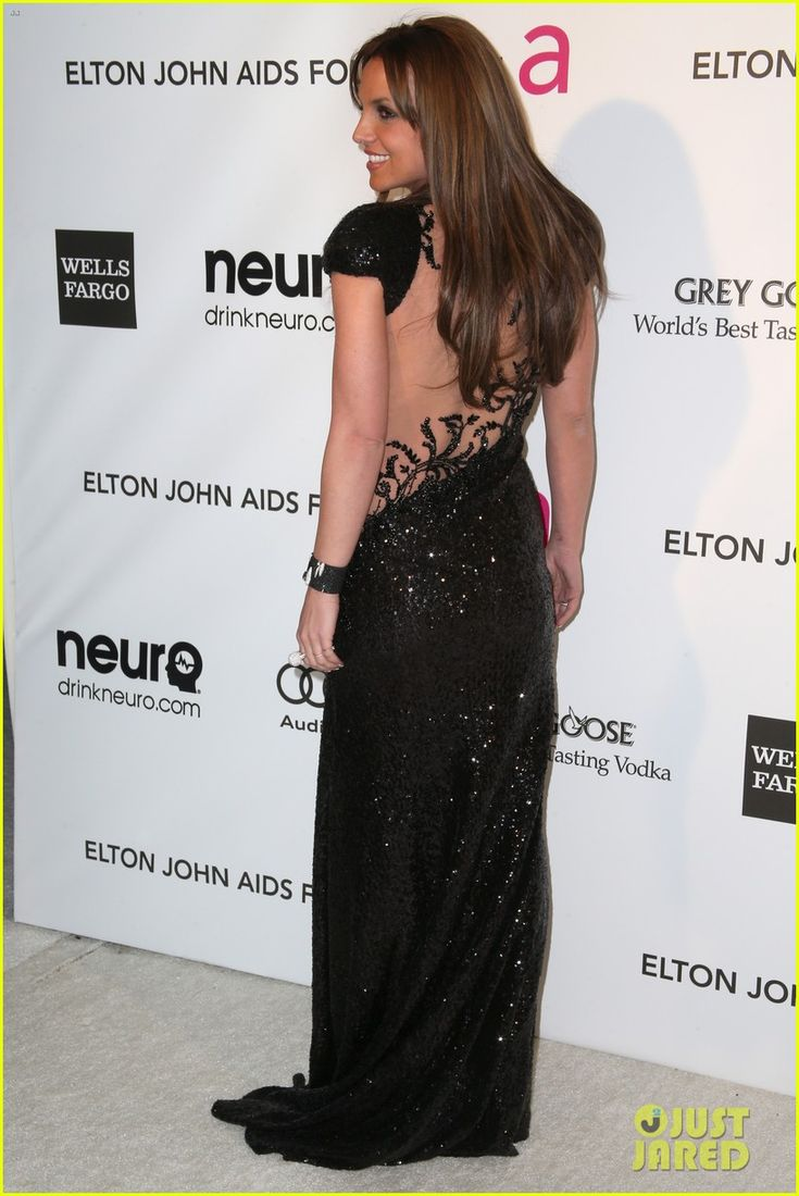 Britney Spears - 2013 Elton John AIDS Foundation Academy Awards Viewing Party - Michael Cinco Couture dress, De Grisogono jewelry