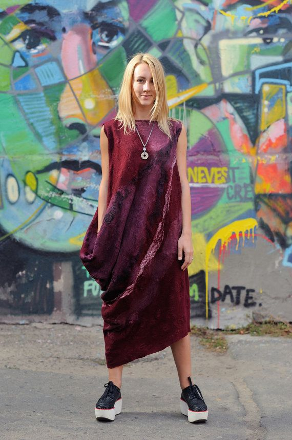 Nunofelting. Wool and silk dress.