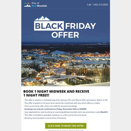 Stay at Blue Mountain Black Friday and Cyber Monday Specials Email contest desig…