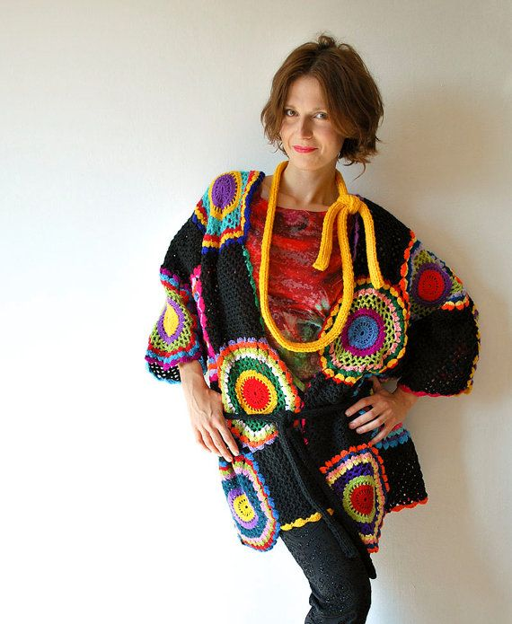 Plus Size Multicolor Crocheted Cardigan