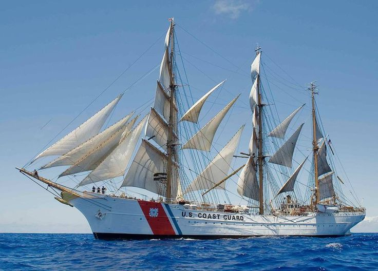 Avast me hearties, it be the Revenue men! U.S. Coast Guard Cutter Eagle. The 250-foot Barque Eagle is used as a sail training ship by the U.S. Coast Guard Academy in New London, Connecticut.
