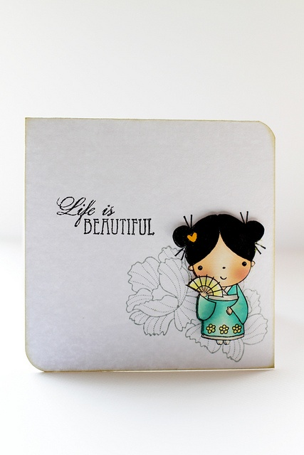 japanese beautiful mimi by cathy.fong...sweet and simple image... lovely coloring of the kimono girl with peonies and sentiment in black only...