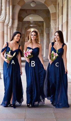 Custom Made Chiffon Bridesmaid Dresses,Bridesmaid Dress,Bridesmaid Dresses,Navy blue bridesmaid dress,long bridesmaid dress,sweetheart bridesmaid dress