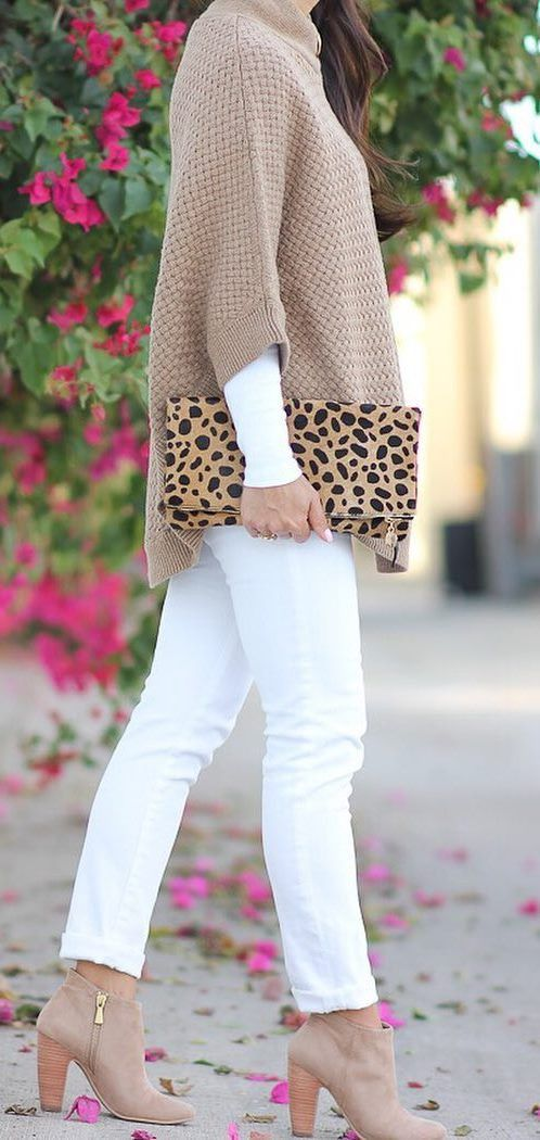 awesome fall outfit / nude sweater + bag + white pants + heels