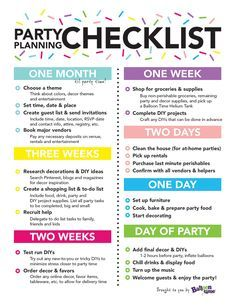 party event planning checklist