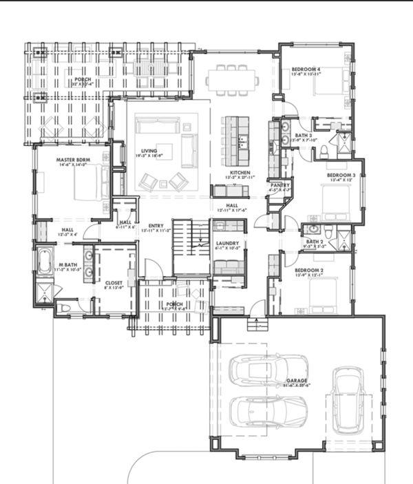 Prairie Style House Plan 4 Beds 3 Baths 2690 Sq Ft Plan 1069 8 Prairie Style Houses Prairie Design House Plans