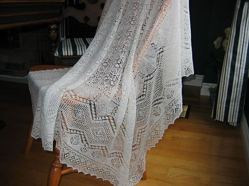 Wedding Ring Shawl by Sharon Miller published in Heirloom Knitting - Website Patterns (knitted by Q-knitter)