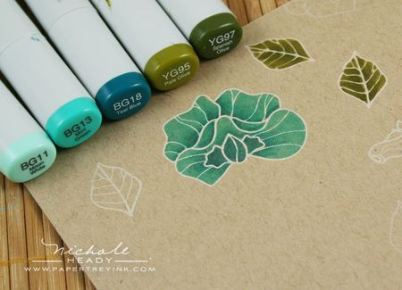 Stamping images with white ink on kraft paper and coloring with Copic Markers - a pretty technique