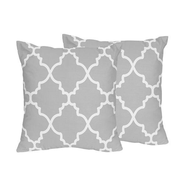 sweet jojo designs trellis collection grey and white lattice print throw pillows set of 2