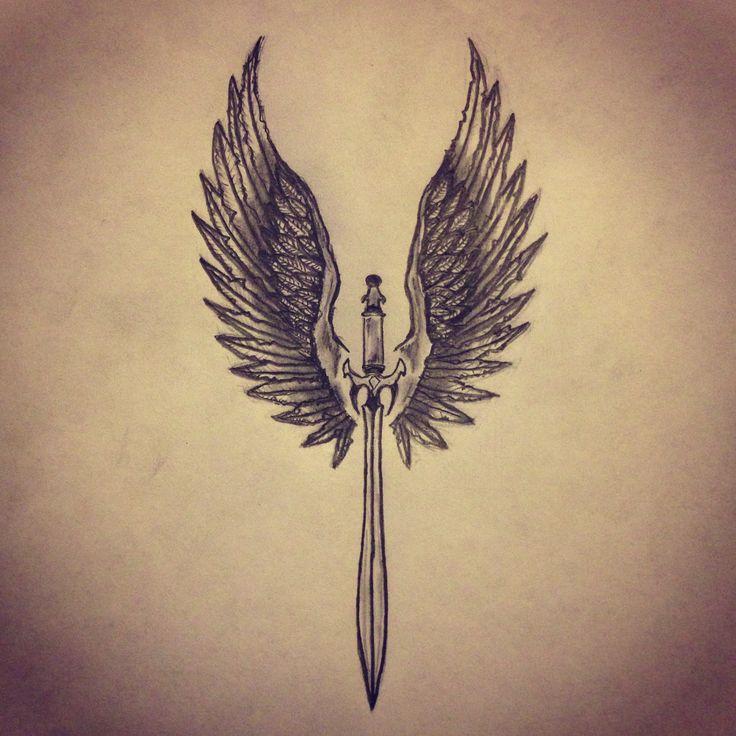 Angel Wings / Sword tattoo sketch by - Ranz
