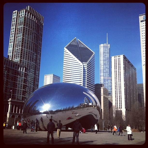 The #Chicago Bean on a crisp blue winter day.