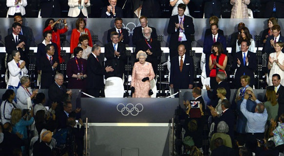 London 2012 - The Queen took her seat in the stands to watch the remainder of the performance after making her acting debut with Daniel Craig. (Getty)