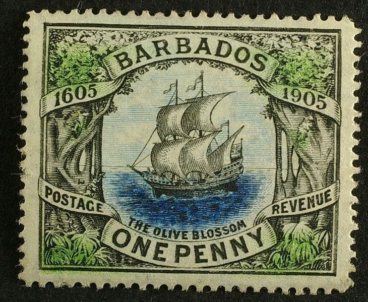 """Barbados """"Olive Blossom"""" stamp from 1905 is considered to be one of the most beautiful ever issued."""