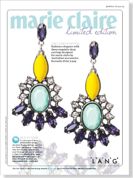Loving the netpage app. Clip and pin straight from the mag! Try it out. You can also buy these exclusive gorgeous Marie Claire  limited edition earrings designed by Peter Lang. Clipped from ©marie claire Australia using Netpage.