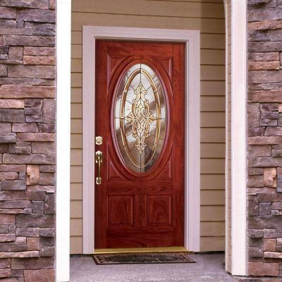 Feather river doors silverdale brass 3 4 oval lite cherry mahogany fiberglass entry door c11505 - Home depot feather river door ...
