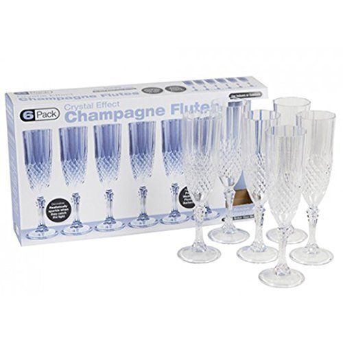 crystal effect set of 6 garden party plastic champagne glass glasses flute amazonco