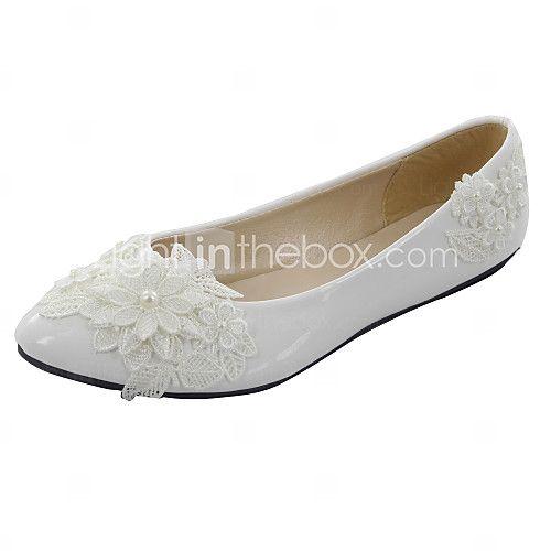Bruiloft Schoenen - Wit - Huwelijk - Gepunte neus - Platte schoenen - voor - Dames - EUR €44.09
