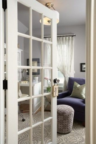 replace solid interior doors with glass doors to visually connect the rooms