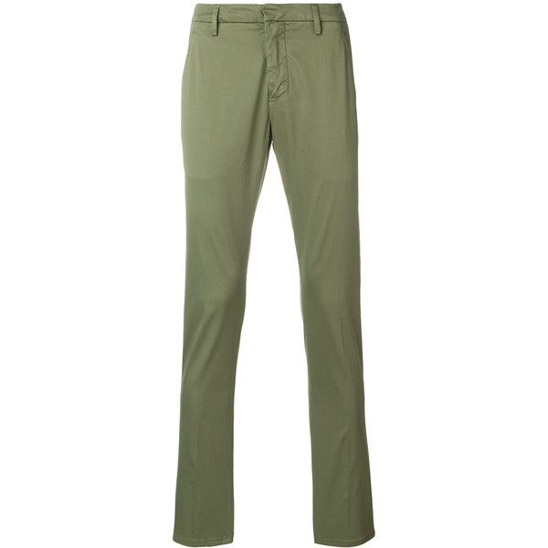 Dondup Gaubert trousers ($345) ❤ liked on Polyvore featuring men's fashion, men's clothing, men's pants, men's casual pants, green, mens zipper pants, mens green pants, mens zip off pants and mens elastic waistband pants